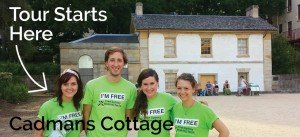 Some Sydney Free Tour Guides in front of Cadmans cottage. This is where the Rocks Tours Starts.