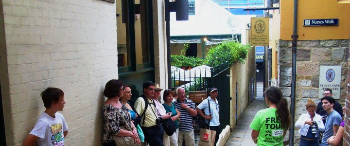 Rocks Free tour group in Suez Canal in Sydney's historic Rocks District.